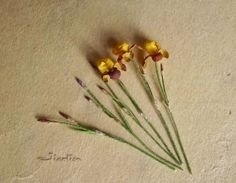 Jicolin minis: Iris bicolor a few hints on making irises and how she did it over a few posts Clay Flowers, Faux Flowers, Flower Vases, Paper Flowers, Floral Backdrop, Mini Plants, Miniature Plants, Little Flowers, Garden Accessories