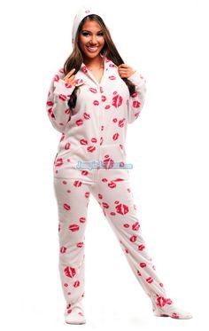 Cool Kisses - Hooded Footed Pajamas - Pajamas Footie PJs Onesies One Piece