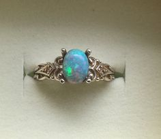 Australian Opal Ring - Vintage Style Black Opal Ring with Diamonds - Blue Green Genuine Opal Silver Ring - 14K Optional - CUSTOM