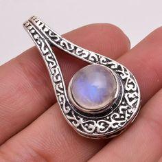Natural Blue Rainbow Moonstone Gemstone 925 Sterling Silver Pendant Jewelry #PI #Pendant