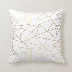 Stylish elegant white gold geometrical Throw Pillow