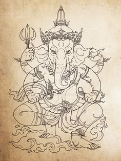 Another version of the lord ganesh based on the one I drew long ago .well time really go fast Ganesh II Arte Ganesha, Arte Shiva, Shiva Art, Krishna Art, Hindu Art, Buddhist Symbol Tattoos, Buddhist Symbols, Buddhist Art, Hindu Tattoos