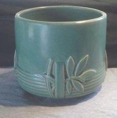 Vintage 1930s McCoy Art Pottery Matte Turquoise Green Leaves Jardiniere | eBay