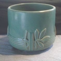 Vintage 1930s McCoy Art Pottery Matte Turquoise Green Leaves Jardiniere | eBay