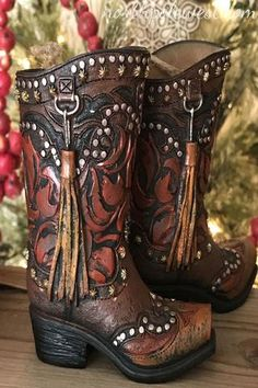 Cowgirl Holiday Decor Cowboy Texas Southwestern BOHO Free Shipping LARGE Cowboy Boot Christmas Ornament Made In USA Wooden Ornament