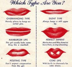 Amusing 1940s War Guide to Womens Lip Types.
