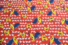 Vintage Fabric  Chickens and Roosters on Red  44 x by pumpkintruck, $40.00