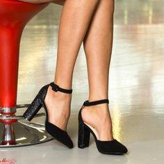 Pantofi cu Toc XKK151 Black Mei Pumps, Heels, Pewter, Black, Fashion, Heel, Tin, Moda, Black People