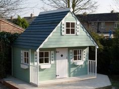 Appletree Cottage. A chalet style playhouse with upstairs. http://www.playways.co.uk/garden/childrens-playhouses/appletree-cottage/