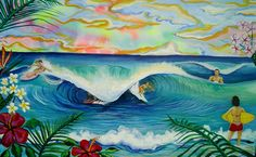 FAMILY SURF SESSION PAINTING, TROPICAL SURF OCEAN ART BY SHANNON MCINTYRE