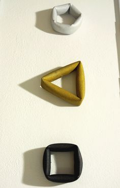 They might be bracelets, but would make wonderful rings! Fumiki Taguchi, aluminium, bronze and steel bracelets