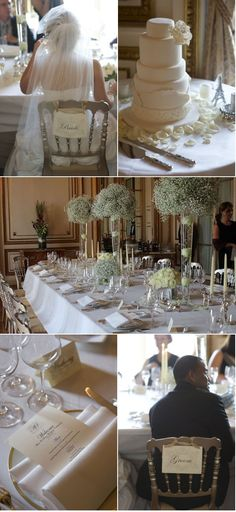 I like the high arrangements and tablescape in the middle photo.