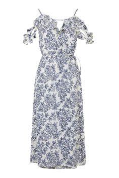 Blue and White Floral Dress topshop White Floral Dress, Floral Midi Dress, Topshop, Cute Dresses, Summer Dresses, Summer Clothes, Robes Midi, Nordstrom Dresses, Cold Shoulder Dress
