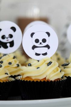 Fun toppers at a panda birthday party! See more party planning ideas at CatchMyParty.com!
