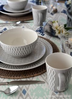 Tablescape with shells and Mikasa Aurora Grey Dinnerware | homeiswheretheboatis.net