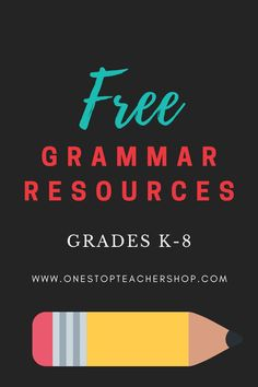 A collection of FREE Grammar Resources for teachers! These printable and digital Grammar Practice activities are perfect for daily review, language arts centers, distance learning, homework, morning work, and more! Be sure to download them all! Available for 1st Grade, 2nd, 3rd, 4th, 5th, 6th, 7th, and 8th. Grammar Practice, Teaching Grammar, Teaching Writing, Grammar Review, Grammar Activities, Middle School Teachers, Word Study, Morning Work, Teacher Resources