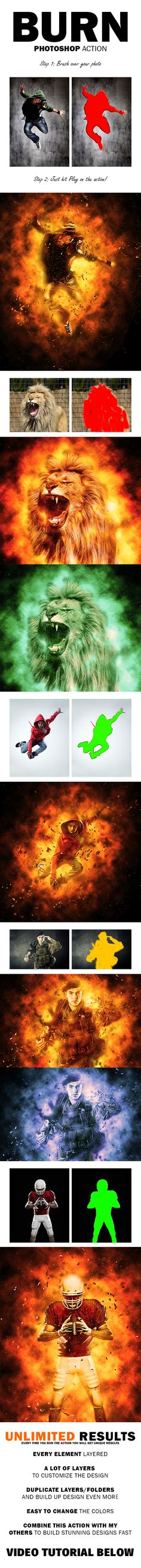 Burn Photoshop Action — Photoshop ATN #photomanipulation #explosion • Available here → https://graphicriver.net/item/burn-photoshop-action/11647983?ref=pxcr