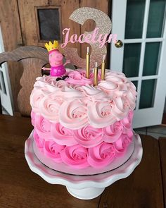 Pink ombré rosette Peppa Pig Birthday Cake Pitch the party that is definitely uncomplicated, trendy, Tortas Peppa Pig, Bolo Da Peppa Pig, Peppa Pig Birthday Cake, Birthday Cake Girls, Peppa Pig Cakes, Peppa Pig Cupcake, 3rd Birthday, Peppa Pig Pinata, Birthday Celebration