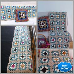 Handmade Shabby Chic Retro Crochet Blanket Runner and Cushion Cover: Rustic Comfy Sofa, Bed Runner, Chunky Yarn, Farmhouse Chic, Bed Sizes, Cushion Covers, Shabby Chic, Cushions, Colours