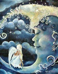 Ideas for painting moon and sun la luna Sun Moon Stars, My Sun And Stars, Moon Moon, Moon Art, Blue Moon, Fantasy Kunst, Fantasy Art, Illustrations, Illustration Art