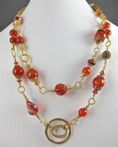 Signature Necklace ~ LAKE OF FIRE ~ Carnelian, Vermeil, Gold-Fill; www.rubylane.com/shops/katecreates