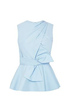 Shop Cross Draped Front Peplum Bow Blouse by Prabal Gurung for Preorder on Moda Operandi Tight Dresses, Dresses For Work, Shift Dresses, Light Blue Blouse, Peplum Shirts, Peplum Tops, Mode Top, Peplum Blouse, Sleeveless Blouse