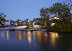 Completed in 2013 in Chicago, United States. Images by Steve Hall/Hedrich Blessing. The Clark Park facility is one of four boathouses proposed by Chicago Mayor Rahm Emanuel as cornerstones of his riverfront revitalization plan,. Lake George Village, Lakefront Property, Chicago River, Rustic Design, The Great Outdoors, Tiny House, Boathouse, Mansions, Studio