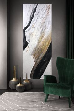 Large abstract painting as the main point of the stylish interior of the modern living room. Design and Style Inspiration for your home. Spa Design, Wall Design, House Design, Modern Design, Design Ideas, Living Room Designs, Living Room Decor, Stil Inspiration, Diy Home Decor
