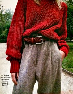 Chunky knit and menswear trousers for fall! Glamour France.  Now at scorpiofashions.com                                                                                                                                                                               More