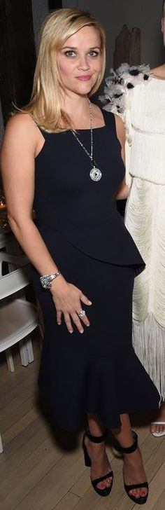 a6a7c0625 Who made Reese Witherspoon's peplum dress, jewelry, and black sandals? Reese  Whiterspoon,