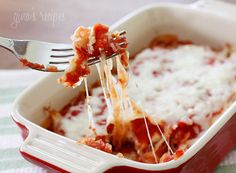 Spaghetti Squash Lasagna.  So delicious and I feel so much healthier eating it when compared to pasta.