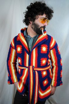 Funky Vintage Granny Square Sweater Cardigan Jacket.  You up for this @Jenn Marshall  Marshal???