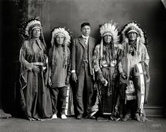 Washington, D.C., circa 1917. Native Americans: Redwater and group. Harris  Ewing Collection glass negative.