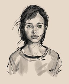 Pencil drawing of Ellie for the last of us. From playing the game and seeing the final product, this concept art is extremely close.