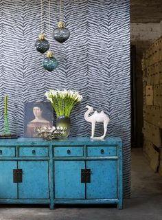 zebra wallpaper fabric modern colorful vignette turquouse aqua dresser cabinet I. Zebra Wallpaper, Animal Print Wallpaper, Wall Wallpaper, Do It Yourself Inspiration, Design Inspiration, Halls, Osborne And Little, Home Decoracion, Interior Desing