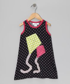 Look at this mini scraps Black Polka Dot Kite Swing Dress - Infant, Toddler & Girls on #zulily today!
