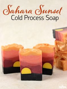 Sahara Sunset Cold Process Soap Tutorial. Another beautiful landscape inspired soap. The bright yellow sun is created with LCP (like cold process) melt and pour soap. LCP soap has little to no sweating, which makes it perfect for embeds.