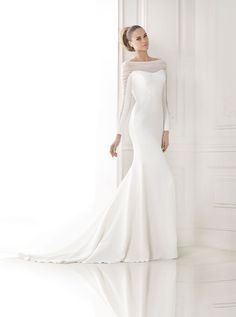 How divine is this modern wedding dress from Pronovias 2015 Bridal Collection Preview http://storyboardwedding.com/pronovias-2015-bridal-collection-preview/