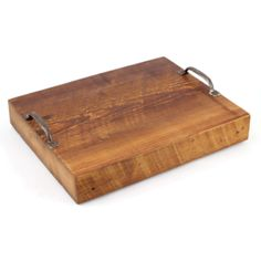 """Wood serving tray.  I""""m gonna make this: piece of wood, wood stain, drawer handles."""