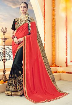 Art Silk Half and Half Saree in Coral Red and Black This Appealing Drape is Enhanced with Zari, Sequins and Patch Border Work Available with a Semi-stitched Art Silk Blouse in Coral Red and Black. Crafted in Round Neck and Short Sleeve. Blouse Length- 13 to 14 inches, Sleeve Length- 1 to 7 inches Free Services: Fall and Edging (Pico) Do note: Accessories shown in the image are for presentation purposes only.(Slight variation in actual color vs. image is possible).