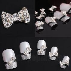 10x 3D Alloy Acrylic Bow Tie silver Nail Art stickers Rhinestones Decoration   eBay