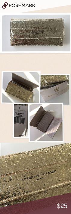 Adrienne Vittadini Gold Sparkle Wallet Adrienne Vittadini gold sparkle fold over wallet / clutch with interior zip pocket and card holder. Super cute and fun! New with tags! Adrienne Vittadini Bags Clutches & Wristlets