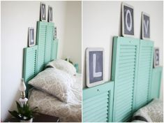 A DIY Vintage Shutter Head Board makes for a lovely piece in any bedroom. See how Samantha from Samantha Elizabeth A Lifestyle Blog reclaims old shutters for her bed.