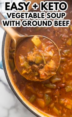 Low Carb Vegetable Soup, Vegetable Soup Recipes, Oven Vegetables, Low Carb Vegetables, Low Carb Recipes, Yummy Recipes, Ketogenic Recipes, Healthy Recipes, Soup With Ground Beef