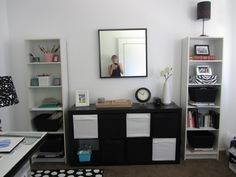 Black and white office decor