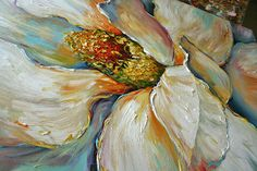 Acrylic and Oil large Magnolia Painting on canvas PALETTE