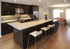 Suzie: Drawing Dept Architects - Modern kitchen design with espresso stained kitchen cabinets & ...