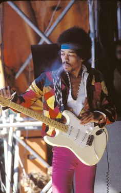 Jimi Hendrix on stage in Germany, 1970.