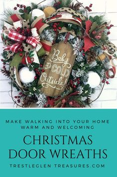 I love the rustic Christmas wreaths for my front door. It gives the old fashion feel that makes Christmas feel more special.I can't wait to start decorating my front porch with rustic Christmas decor. Christmas Door Wreaths, Christmas Porch, Holiday Wreaths, Rustic Christmas, All Things Christmas, Christmas Crafts, Christmas Decorations, Holiday Decor, Holiday Ideas