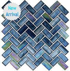 Oceania Herringbone Glass Tile - Cobalt Sea